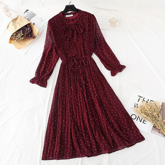 Polka dot elegant women dress casual Flare sleeve long party dress bow Dot print Pleated chiffon dresses vintage vestido 1