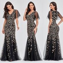 Женское шифоновое платье русалка элегантное черное с v образным