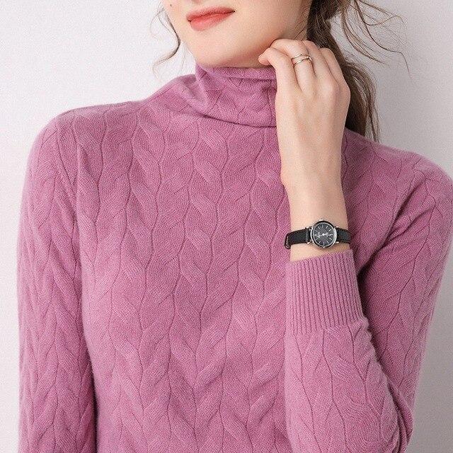 Фото новый тренд шерстяной свитер с ворсом и воротником женский вязаный