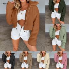 Fur Coat Women Autumn Winter Fluffy Teddy Jacket Plus Size Long Sleeve Warm Solid Color Female Outwear