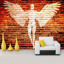 Custom 3D Wallpaper Murals Retro Nostalgic Brick Wall White Angel Wings Art Wall Painting Living Room Restaurant Cafe Bar Decor large metal angel wings with led lights vintage ancient iron retro wings wall decoration bar cafe wall home decor accessories