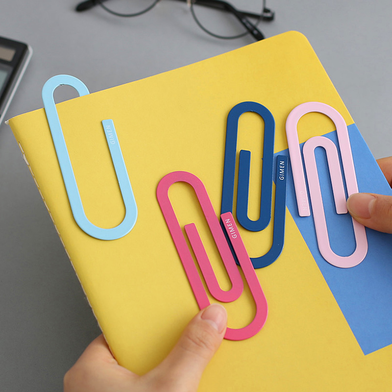 2pcs/pack Large Cute Metal Paper Clips 4 Inch Multicolored Bookmark Page Markers Paperclips For Office Supplier School Student