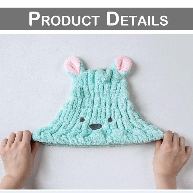 Serviette en microfibre pour cheveux Turban de dessin animé | Séchage rapide, chapeau de cheveux, oreilles de lapin courtes, serviette en molleton de corail, serviette à séchage rapide, 30x25 D40