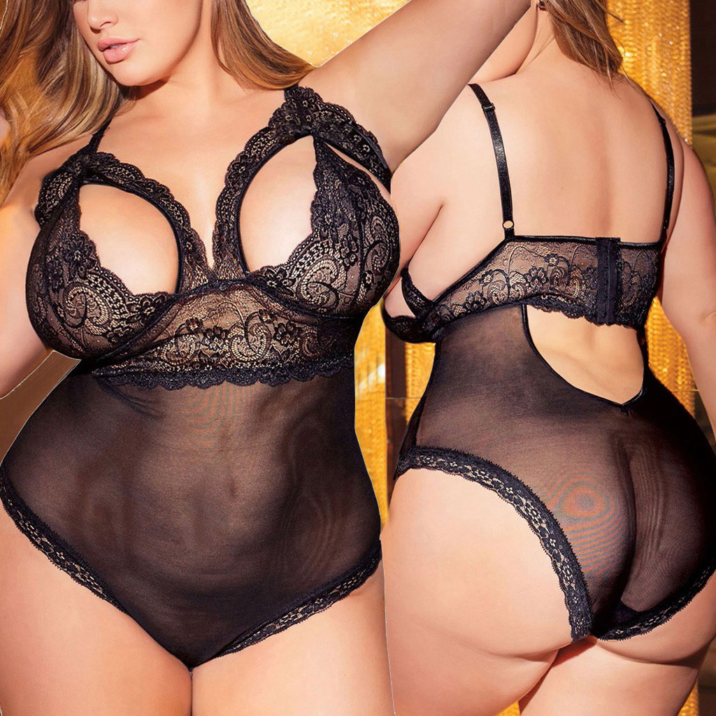 Женское сексуальное нижнее белье размера плюс, эротическое кружевное нижнее Белье для сна в стиле Babydoll, прозрачное платье, сексуальное нижн...