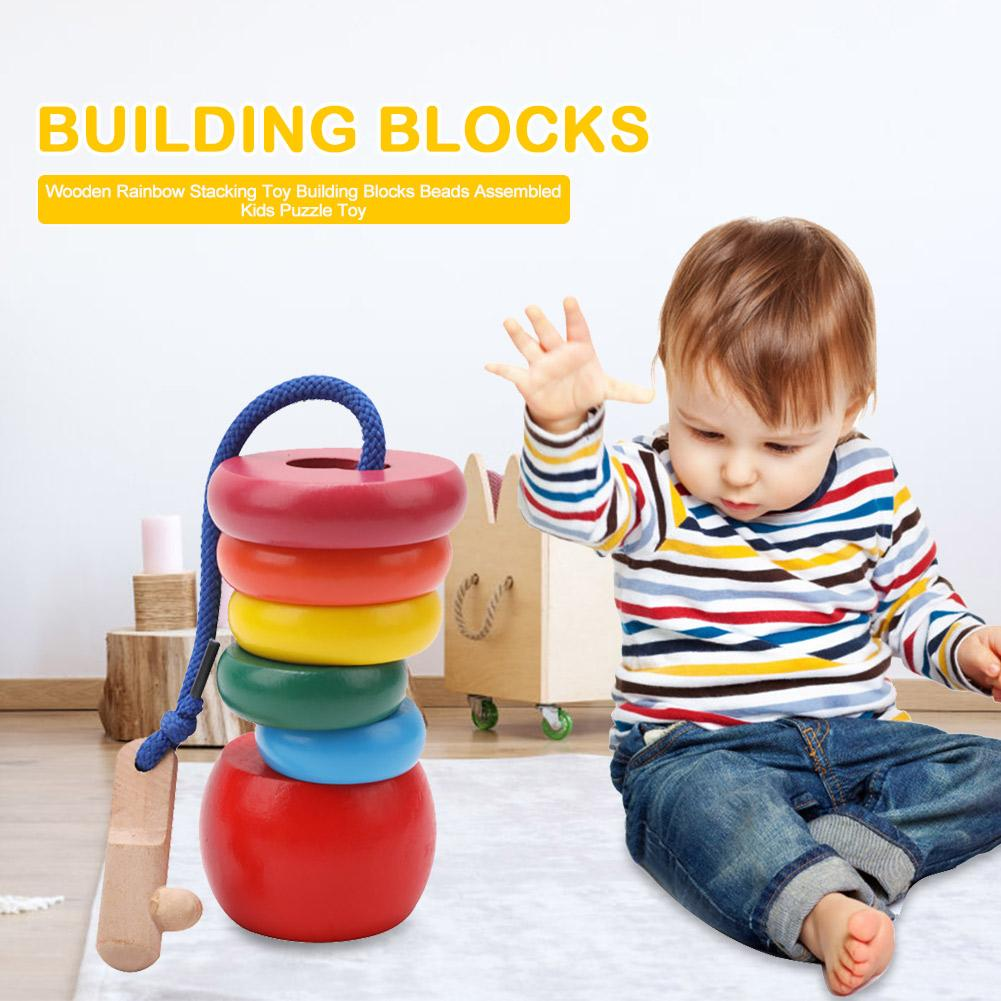 Kids Wooden Rainbow Stacking Toy Beads Toys Assembled Toys For Kids Building Blocks Children Educational New Gifts