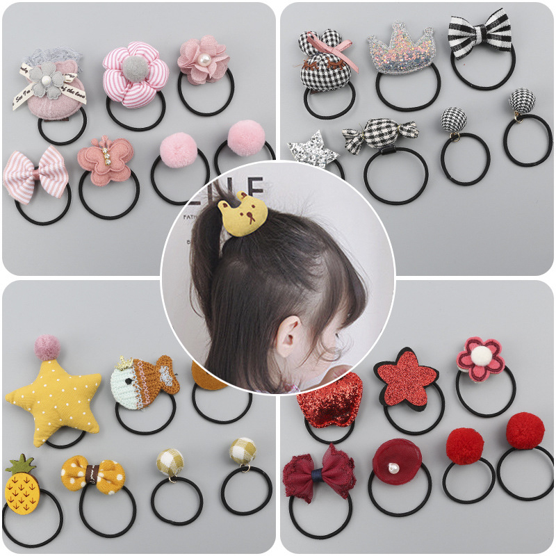 7 Piece Girls Hair Ring Children's Tiara Hair Accessories Elastic Rubber Band Hair Ring Korean Version Of The Head Rope Set
