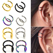 1PCS Clip On Wrap Earring Tragus Stainless Steel 2 Rings Ear Cuff Clip nose ring Fake Piercing Body Jewelry Dilataciones Falsas cheap URORU Fashion Metal TRENDY ROUND Nose Rings Studs
