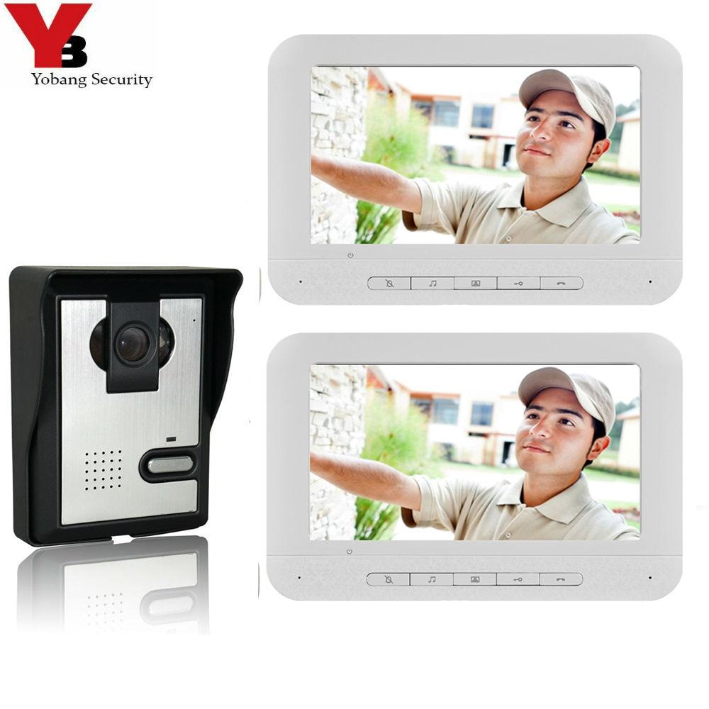 """Yobang Security 7"""" White Color Screen Video Doorphones Kits Video&Audio Home Intercom Unlock IR Camera Wired Doorbell Door Phone"""
