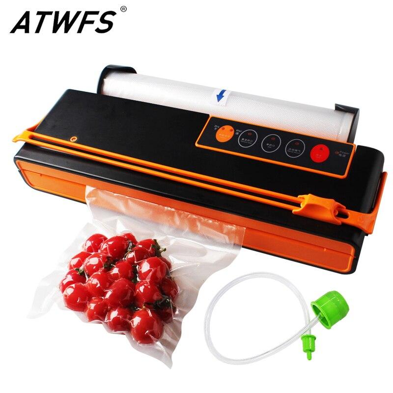 Atwfs aferidor do vácuo máquina de embalagem da selagem máquina de embalagem de poupança de alimentos corte automático saco de vácuo 10 pçs para livre