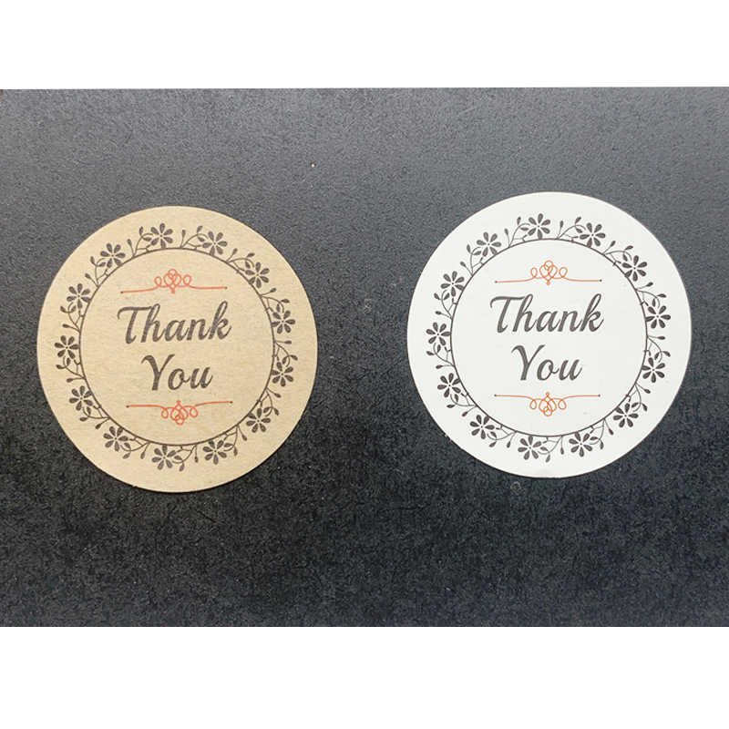 100pcs/lot Cute Thank You seal sticker Wreath Round Kraft paper Sticker for Handmade Products  Gift sealing packaging label