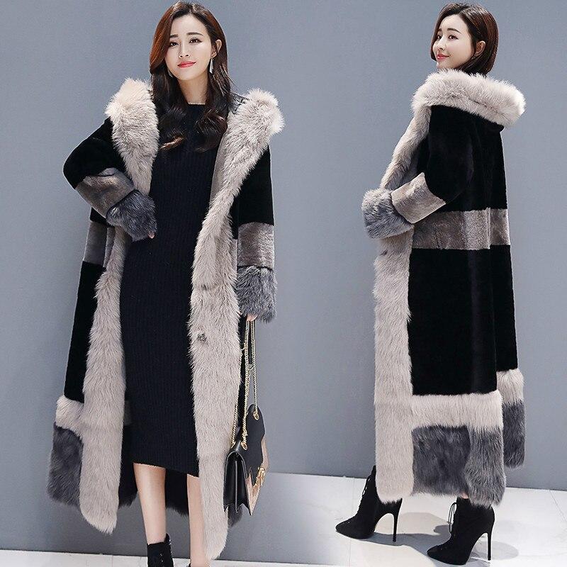 Winter Coat Women Clothes 2020 Korean Thick Warm Faux Fur Coat Ladies Long Fur Jacket + Large Fur Collar Hiver TF81260