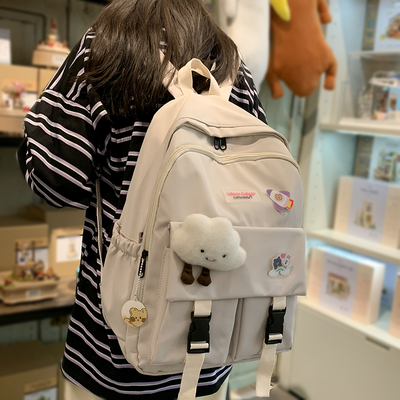 Cute Clouds Women's Travel Backpack Nylon School Bag for Teenage Girls Student Book Laptop Rucksack Mochila Female Schoolbag