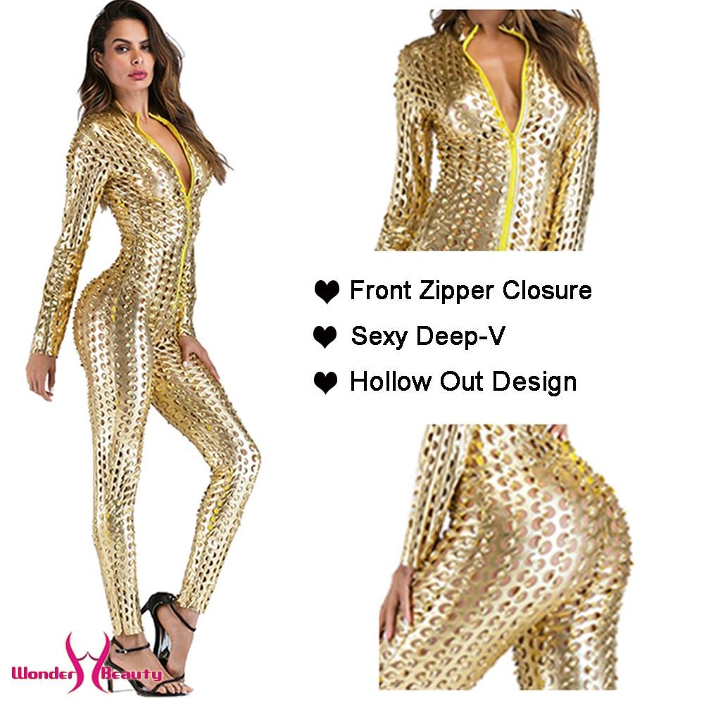 Faux Leather Catsuit Catwomen Shiny Black Gold Silver Metallic Leather Jumpsuit Wetlook PU Leotard Bodysuit Bar Night Clubwear (12)