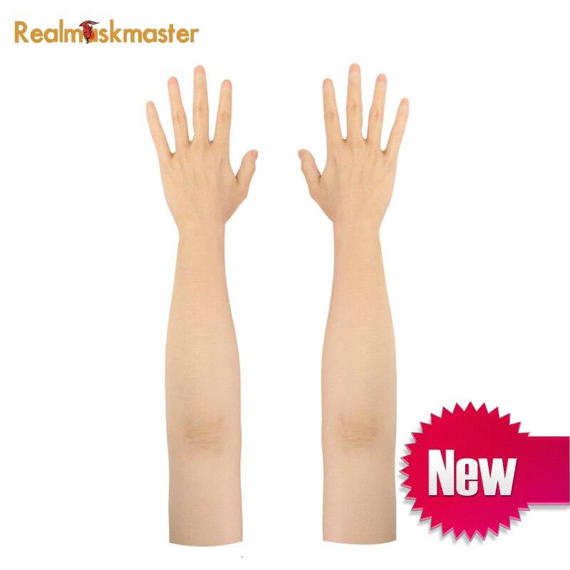 Silicone homem feito de alto nível realista silicone luva fêmea pele artificial lifelike falso mãos crossdresser