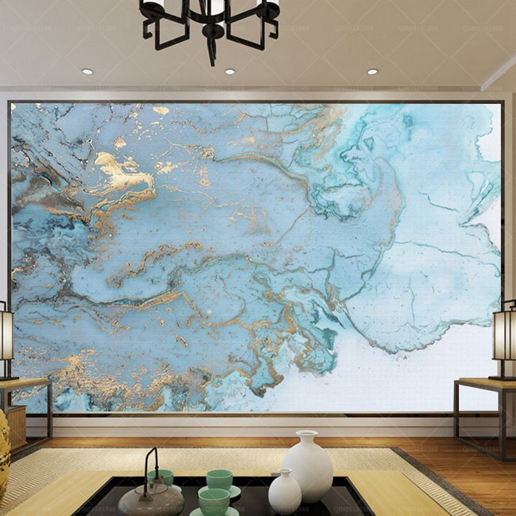 Nordic-Style Elegant Light Luxury Bronze Blue Texture TV Backdrop Mural Bedroom Wallpaper Sofa Wallpaper Wall Covering Fabric