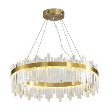European Creative Crystal Chandelier Round Light Luxury Glass Living Room Bedroom Restaurant Postmodern Lamps