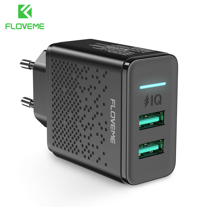 FLOVEME Dual USB Charger 5V 2.4A Fast Charging Wall Charger Adapter EU Plug Mobile Phone For iphone ipad mini Samsung Xiaomi-in Mobile Phone Chargers from Cellphones & Telecommunications