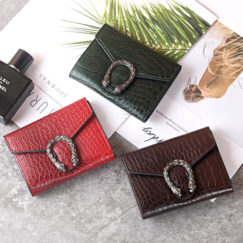 Women's Wallet All-match Crocodile Leather Bag Retro Korean Short Style Multi-Card Case