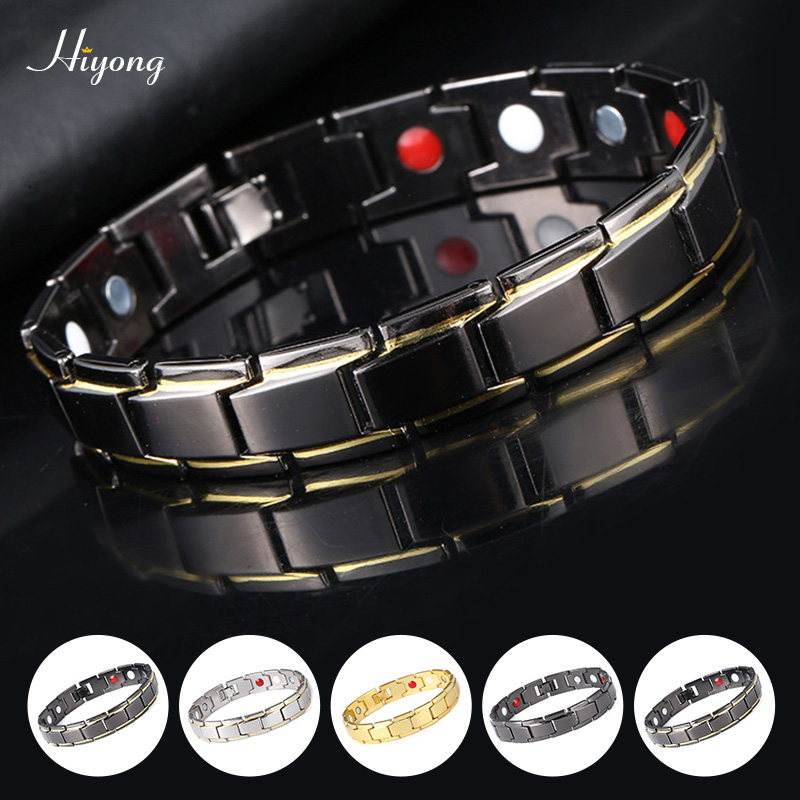 Fashion Magnetic Therapy Health Bracelet Titanium Steel Bracelets Magnets Health Care Bracelets Bangle Jewelry for Women Men(China)