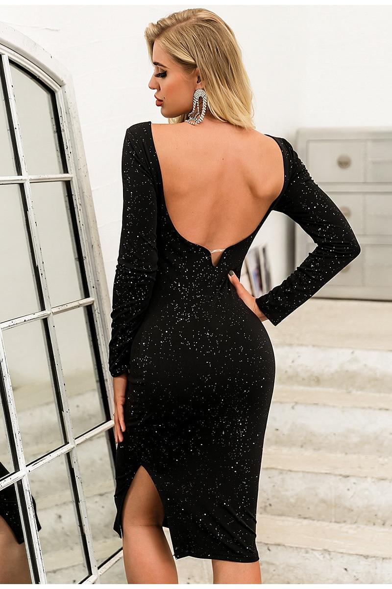 Elegant Black O-Neck Long Sleeve Backless Sequin Midi Dress 6
