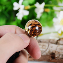 KCALOE Personality Natural Dried Flowers Inside Resin Ball Pendant Necklace Vintage Leather For Women Bridesmaid Gift