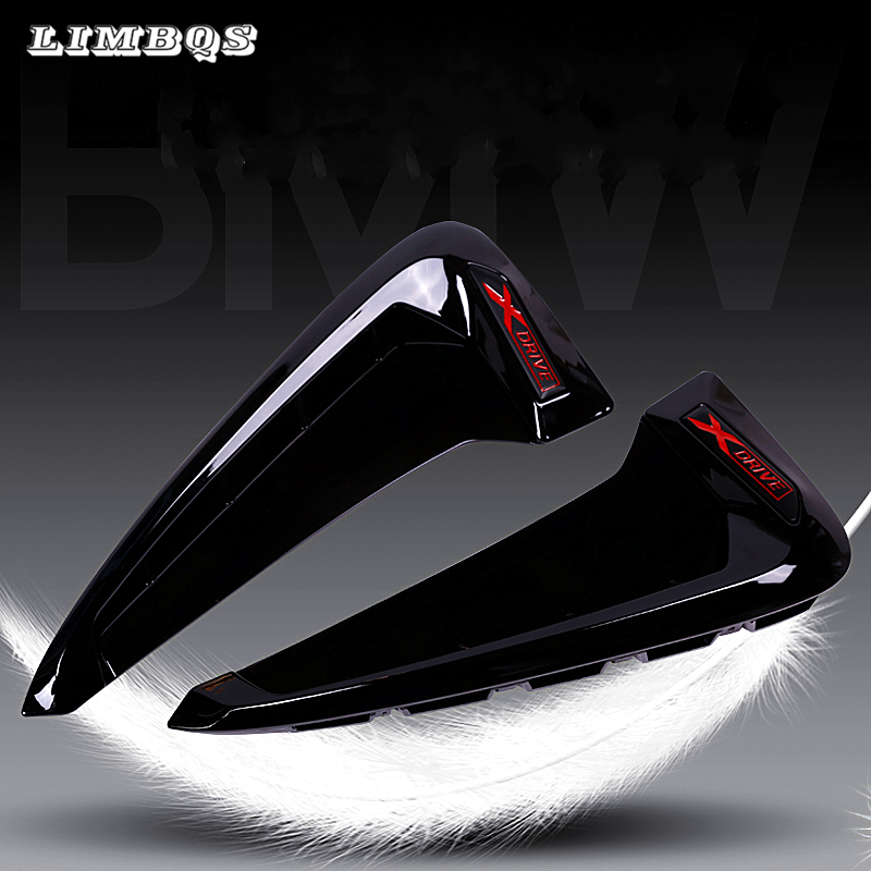 ABS Car Front Fender Side Air Vent Cover Trim For BMW general <font><b>1</b></font> <font><b>2</b></font> 3 4 5 6 Series X1 X2 X3 X4 X5 X6 Shark Gills 3D decoratation image