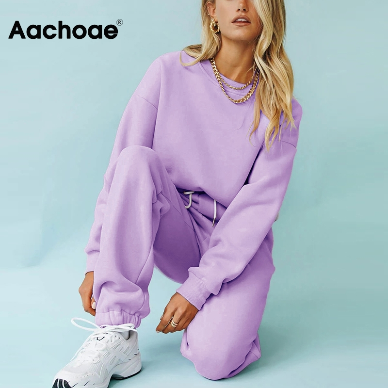 Aachoae Solid Casual Tracksuit Women Sports 2 Pieces Set Sweatshirts Pullover Hoodies Suit 2020 Home Sweatpants Shorts Outfits(China)