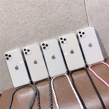 Crossbody naszyjnik smycze przewód przezroczysty miękki futerał na telefon dla iphone 12 6 6S 7 8 Plus X XR XS 11 Pro Max dla samsung S8 S9 tanie i dobre opinie APPLE CN (pochodzenie) Częściowo przysłonięte etui Zwykły przezroczyste