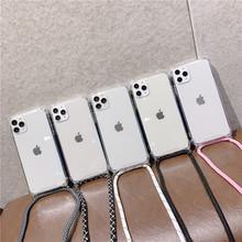 Crossbody naszyjnik smycze przewód przezroczysty miękki futerał na telefon dla iphone 12 6 6S 7 8 Plus X XR XS 11 Pro Max dla samsung S8 S9 tanie tanio APPLE CN (pochodzenie) Częściowo przysłonięte etui Zwykły przezroczyste