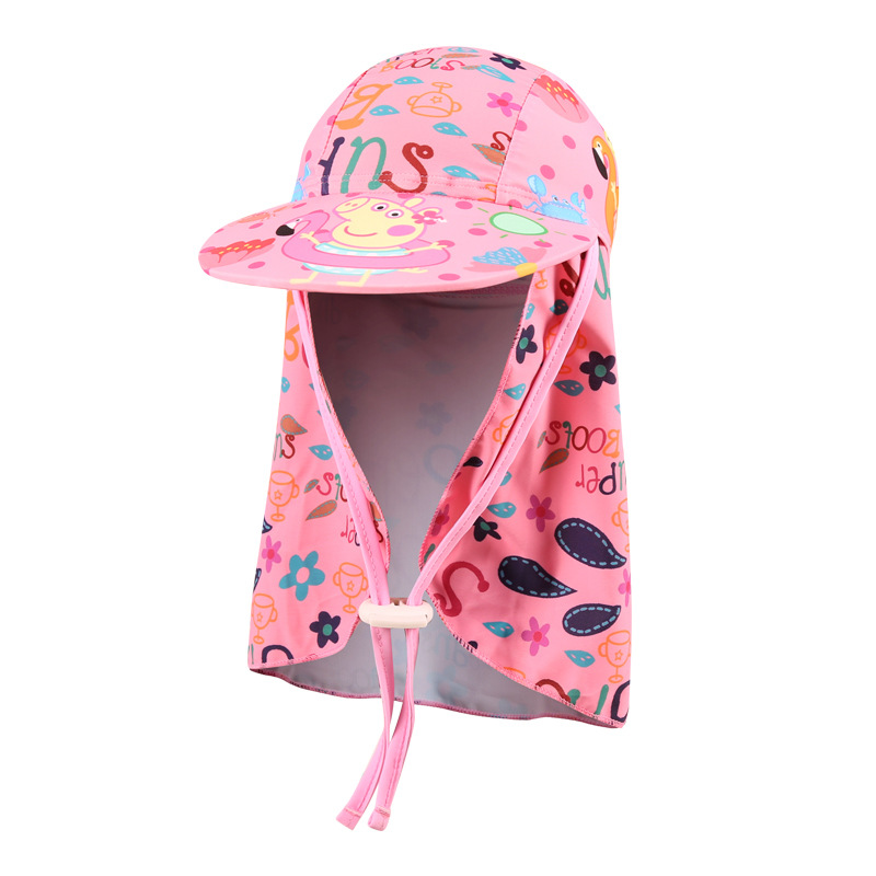 Children Men And Women Baby Cartoon Beach Hat Summer Swimming Neck Guard Sun-resistant UV-Protection Sun Hat