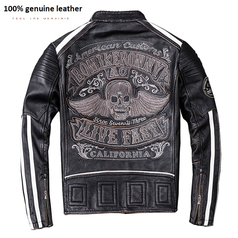 Edging Black Embroidery Skull Motocycle Jackets Men Leather Jacket 100% Calf Skin Thick Moto Biker Bomber Coat M207