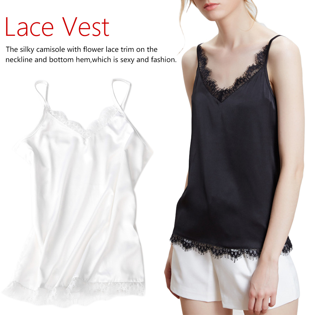 Womens Ladies V Neck Lace Mesh Trim Sleeveless Camisole Strappy Blouse Vest Top
