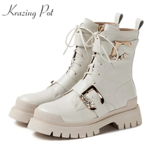 Mid-Calf-Boots Krazing-Pot Metal-Buckle Rhinestone Med-Heels Romance Winter Genuine-Leather