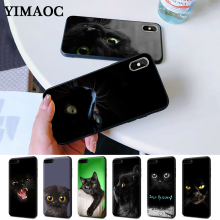 Black Cat Staring Eye On Silicone Case for iPhone 5 5S 6 6S Plus 7 8 11 Pro X XS Max XR