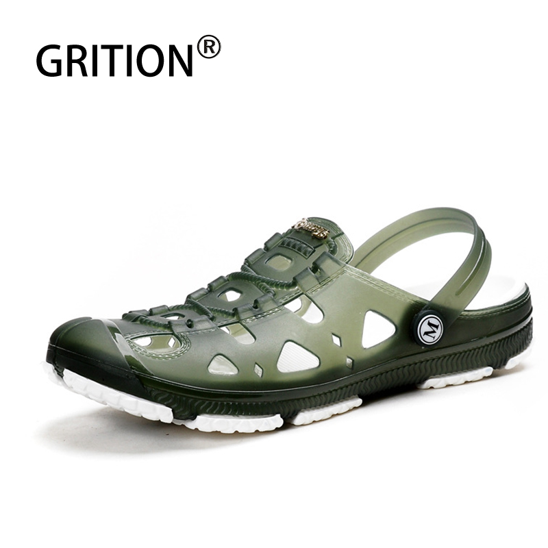 GRITION Men Crocks Hole Shoes Garden Casual Rubber Clogs Male Sandals Summer Beach Slides Water Swimming Jelly Comfy Slippers