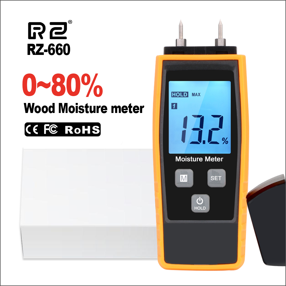 RZ Wood Water Moisture Meter Portable Digital Wood Concrete Moisture Content Tester Tools Timber Hygrometer Wood Moisture Meter