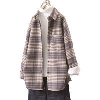 2021 mode Frauen Lila Plaid Woll Shirts Elegante Damen Oversize Lange Hemd Vintage Weibliche Stilvolle Dicke Blusen Mädchen Chic