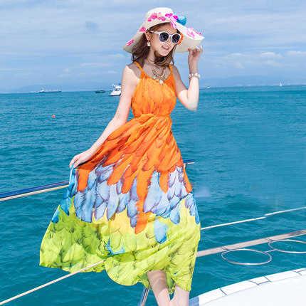 Yaz yeni Sundress tarzı kadın elbise baskılı şifon Bohemian plaj tatil elbiseler kadın uzun Vestidos LX1503 es