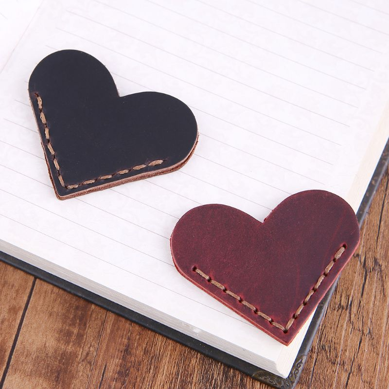Heart-Shape Bookmark Handcrafted Leather Reading Marking Accessories Corner Page Maker Gift For Book Lover Readers Teacher  L41E
