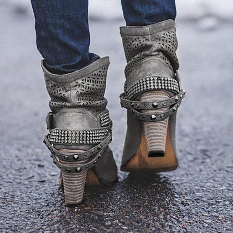 Image 4 - Litthing/зимние ботинки; женские полусапожки на высоком каблуке с заклепками и кристаллами; повседневная женская обувь из искусственной кожи с пряжкой; Botines Mujer; 2019-in Полусапожки from Обувь