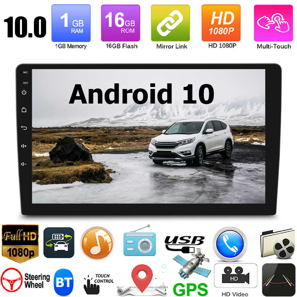 Android 10 Auto Monitor Video Player Multimedia Player Wifi Bluetooth Gps Head Unit 1080HD Display Universele Auto Stereo Gps Kaart