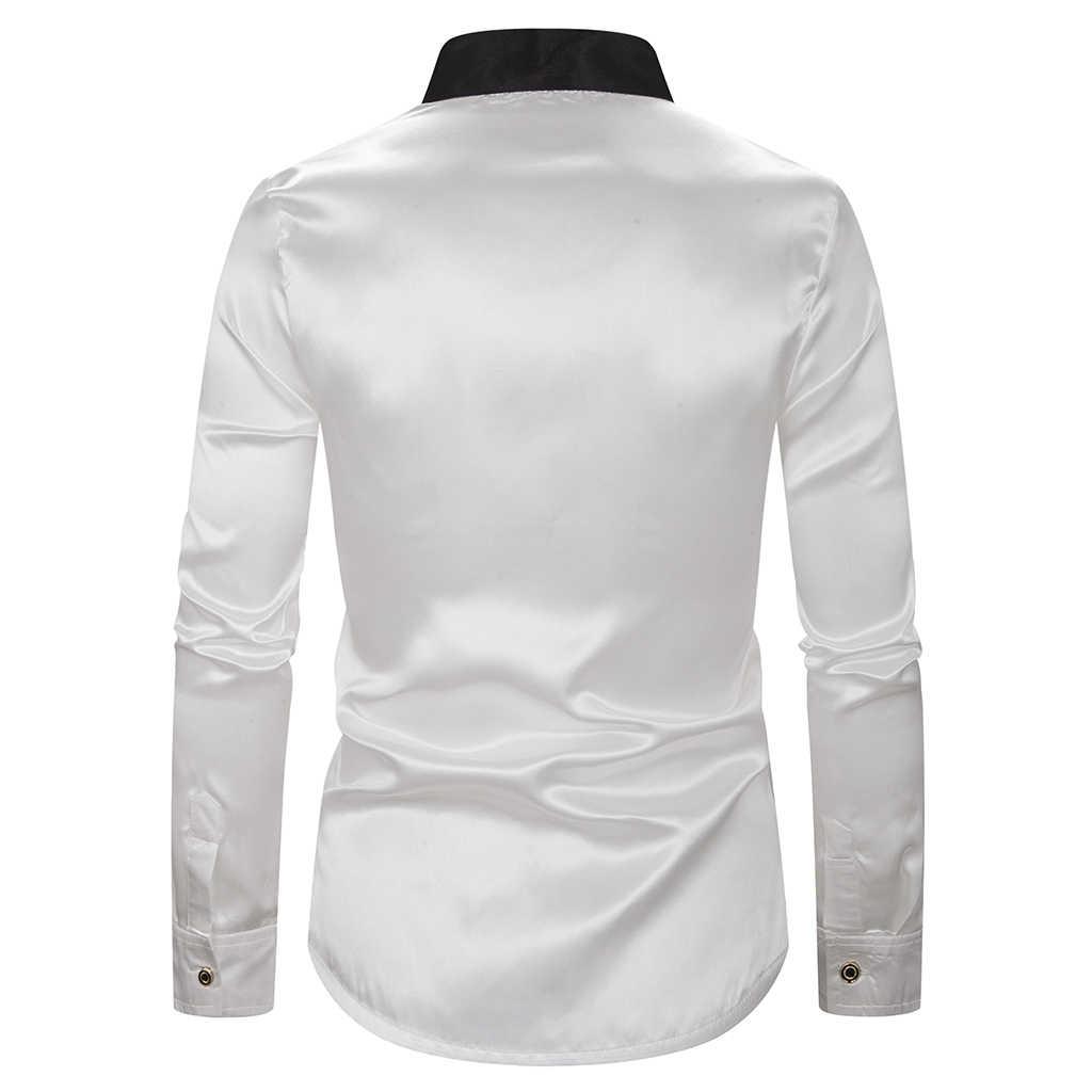 2019 hombre camisa brillante Satén de seda sólido con corbata manga larga Camisas Slim Fit hombres DJ baile etapa Weddding trajes