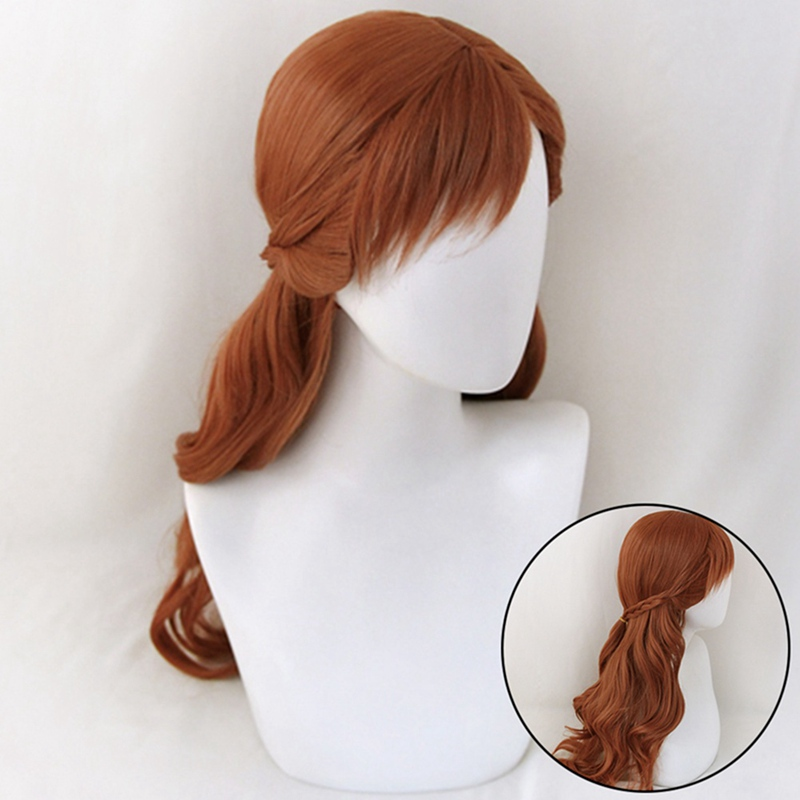 Anna Cosplay Wig Princess Braid Wigs Hair Long Brown Wave Cosplay Costume Halloween Heat Resistant Synthetic Wig + Wig Cap