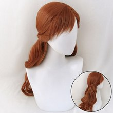 Anna peruca cosplay, peruca de princesa trança cabelo sintético longo, marrom, fantasia, halloween, resistente ao calor, peruca + touca
