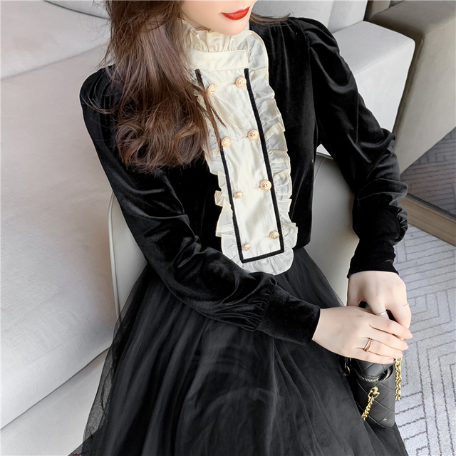 New Spring Vintage Blouse Women Long Sleeve Double Breasted Shirt Velvet Tops Stand Collar Ruffles Patchwork Sweet Blouses 3