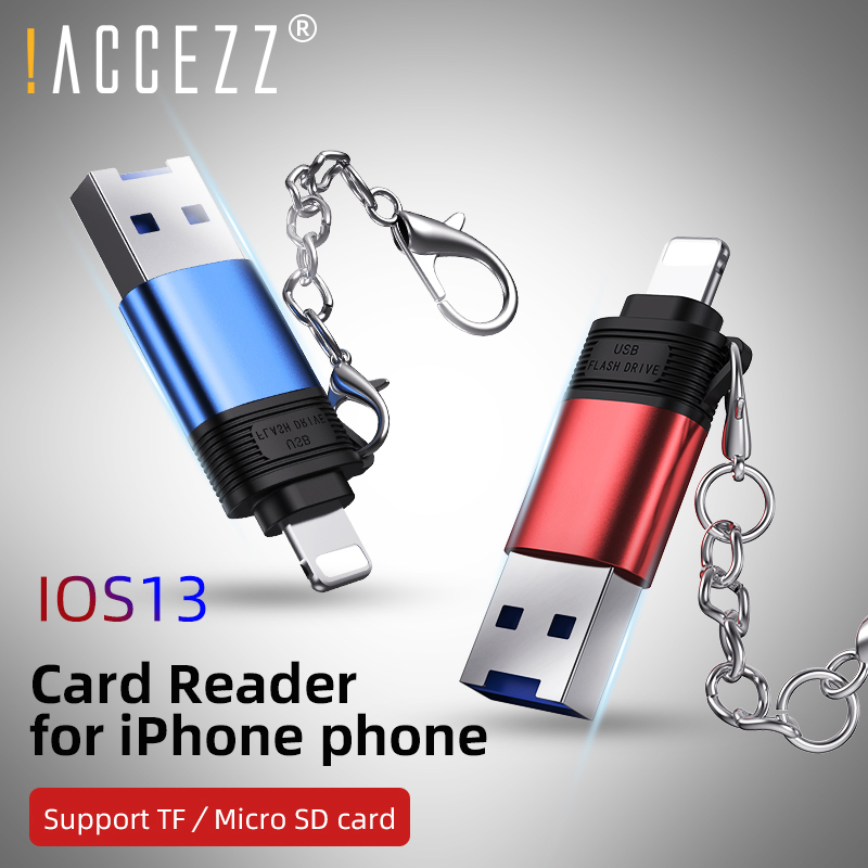 !ACCEZZ Micro SD Card Reader With Chain 2 In 1 USB2.0 Lighting Cardreader For IPhone IPad IOS13 Computer TF Reader OTG Adapter