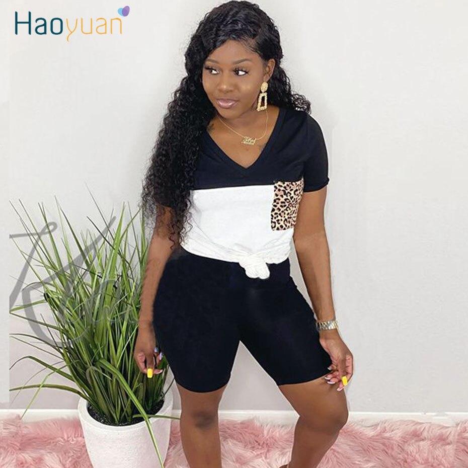 HAOYUAN Two Piece Set Summer Clothes For Women Tracksuit Leopard Pocket Top Biker Shorts Sweat Suits 2 Pcs Outfits Matching Sets