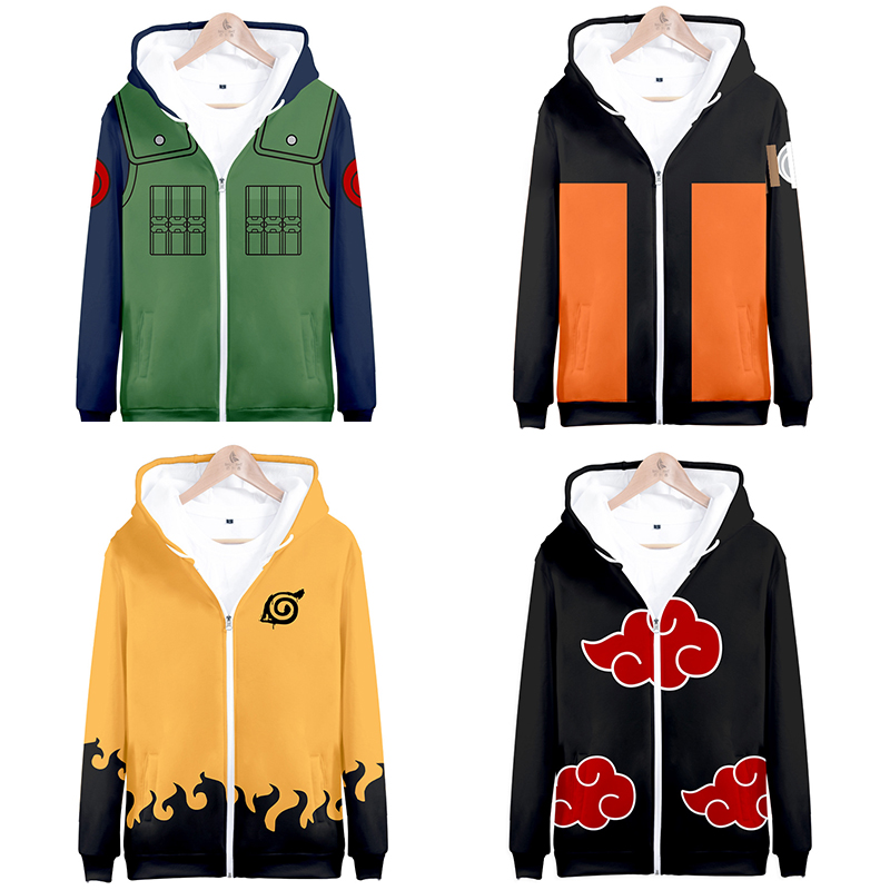 Naruto Cosplay Hoodie Sweatshirt Anime Hooded Jacket Coat Clothing Jiraiya Kakashi Itachi Uchiha Akatsuki Costume Clothes