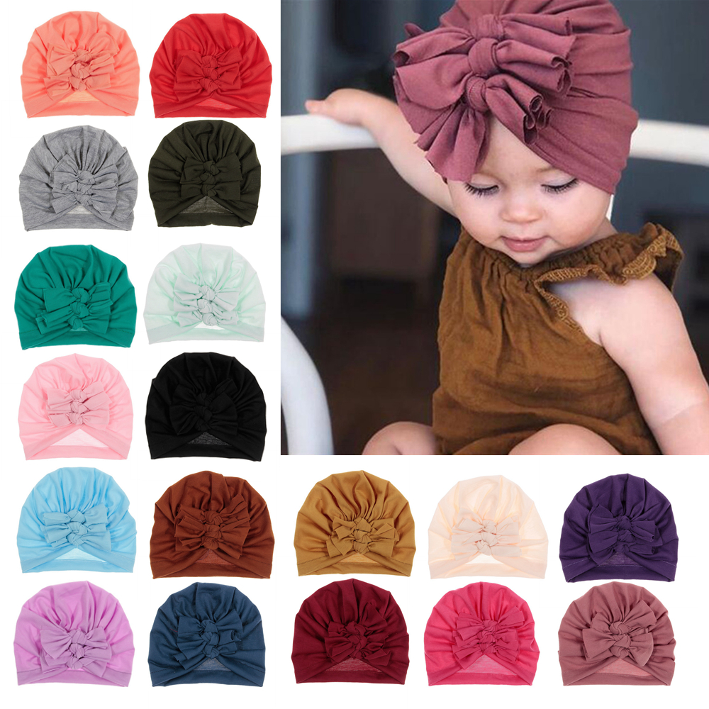 New 1PCS Cute Baby Girls Hat Bow Cotton Knitted Knot Children Turban Kids Newbworn Bonnet Cap Beanie Girls Hair Accessories