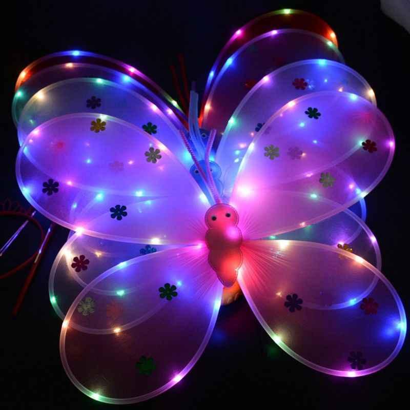 3 adet kız LED melek kanatları seti peri değnek Bandana taç prenses karnaval kostüm 449F